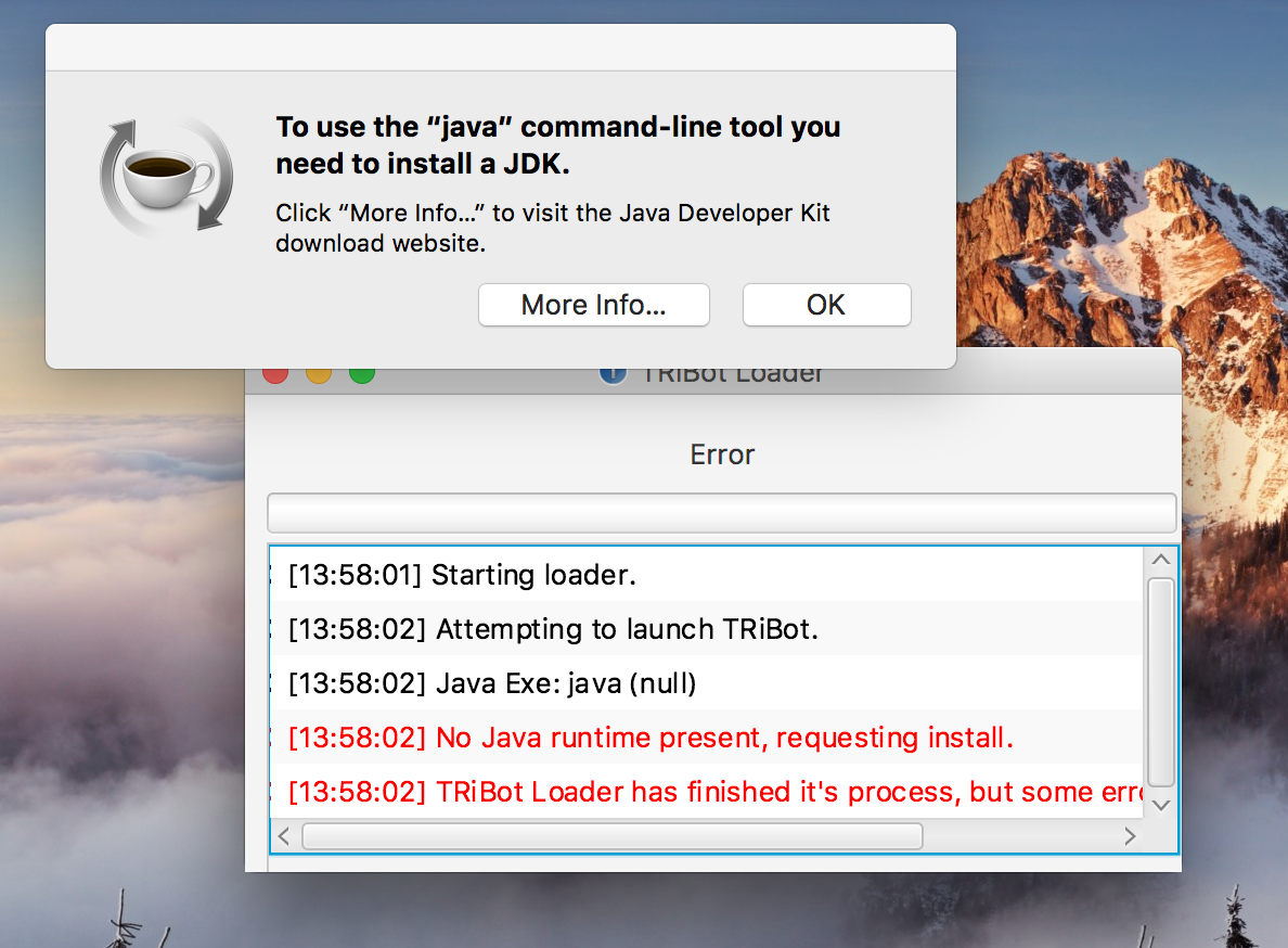 MAC Logs in Tribot and error shows up - Help and Guidance